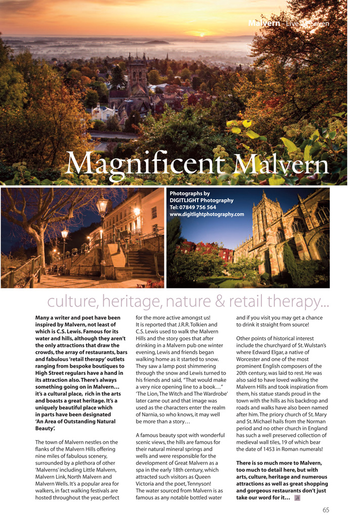 Jan's images used in Malvern feature in Live 27 Seven magazine